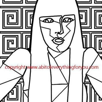abstract woman art coloring page printable art download digital coloring book pages fashion beauty image graphics