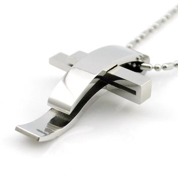 Silver Color Cross Stainless Steel Pendant Necklace Men Women Chain Murano Christian Jewelry Christmas Gifts Wholesale BP1167