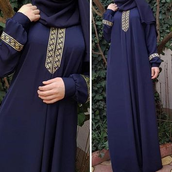 LAAMEI 2018 Autumn Women Plus Size Long Sleeve Print Abaya Jilbab Muslim Maxi Dresses Casual Kaftan Long Dress Long Robes Tunics