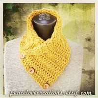 Crochet Neck Wrap w/ Wood Buttons~Ready to Ship~FREE SHIPPING