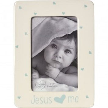 """Jesus Loves Me"" Ceramic 4"" x 6"" Photo Boy Frame"