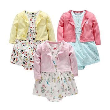 Baby Dress Floral Long Sleeves Shawl clothes bebe vestido Cotton New Year's costume for a girls Baby Clothing Tutu Dresses