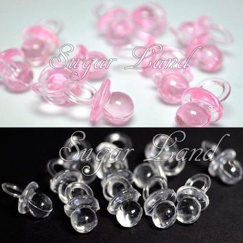 50 Mini Pacifiers Baby Shower Favors Pink Clear Party Decorations Girl Boy Decor