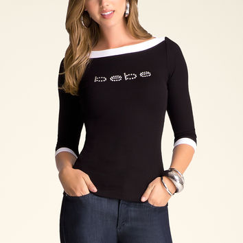 bebe Womens Logo Boatneck Top