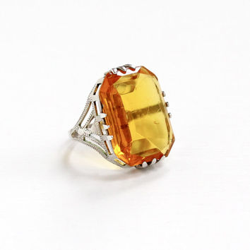 Vintage Art Deco Sterling Silver Simulated Citrine Ring - Antique 1920s Size 5 Filigree Orange Yellow Stone Statement Cocktail Ring Jewelry