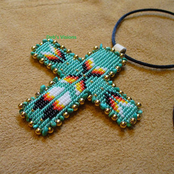 Square stitch beaded Native American inspired Sea Foam Green and Turquise Cross necklace
