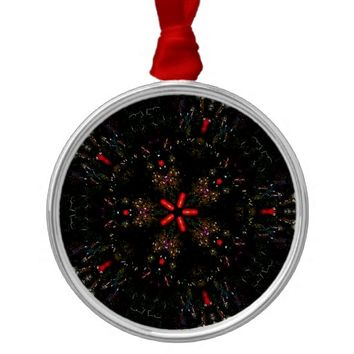 Kaleidoscope Design Black Red Floral Pattern Metal Ornament