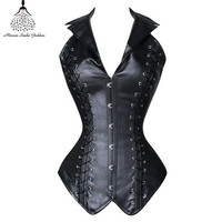 Leather corset  waist trainer hot shapers bustiers waist trainer corset gothic clothing steampunk corset  bustiers corselet