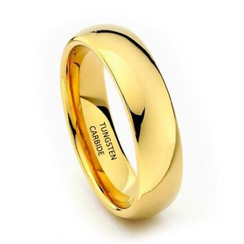 6mm Yellow Gold Tungsten Wedding Band (14k, 18k, 24k Yellow Gold)