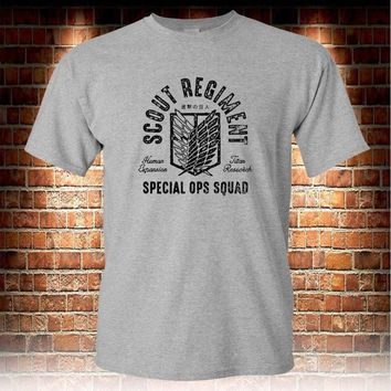 Cool Attack on Titan 2018 Hot Sale 100% cotton Scout Regiment  on The  Grey T-shirt S to 3XL Tee shirt AT_90_11