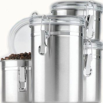 Anchor Hocking Round Stainless Steel Airtight Canister Set with Clear Acrylic Lid and Locking Clamp 4-Piece Set 1
