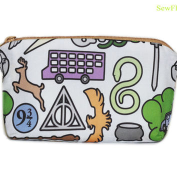 NEW Harry Potter Zipper Bag | Makeup Bag | Cosmetic Case | Pencil Case