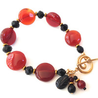 Red & Black Bead Bracelet: Agate Semi Precious Stones, Colorful Bracelet, Handmade Everyday Jewelry for Women; Gifts for Her, Gifts under 20