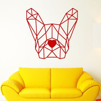 Vinyl Wall Decal Geometric Polygonal Dog French Bulldog Pet Stickers (2550ig)
