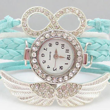 Bracelet Watch 111: Blue Crystal Infinity Angels Wings Bracelet Watch, Trending New style Watch, Best Chosen Gift