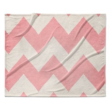 "Catherine McDonald ""Sweet Kisses"" Pink Chevron Fleece Throw Blanket"