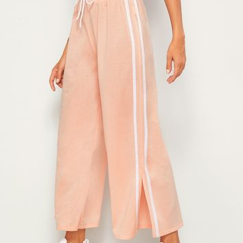 Drawstring Waist Side Stripe Split Pants