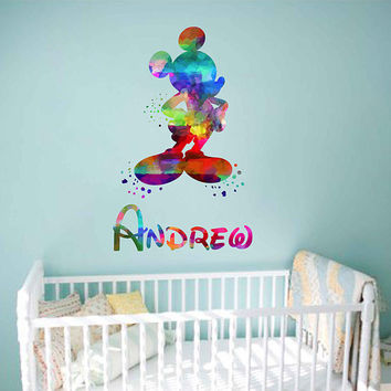 kcik2074 Full Color Wall decal Mickey Mouse Watercolor Character Disney Sticker Disney children's room personalized Child's name