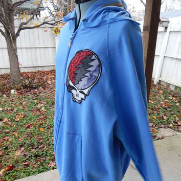 Upcycled Light Blue New Zip Up Hoodie Grateful Dead Batik Jerry  Hoodie Size XXL 2XLHippie clothes, hoodie, recycled hoodie, zip up
