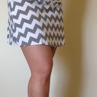 Gray and white Chevron skirt, summer skirt, chevron maxi skirt, skirt, maternity skirt, short skirt
