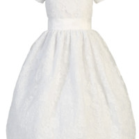 Floral Lace Overlay Satin White First Holy Communion Dress (Girls Sizes 5 to 12)