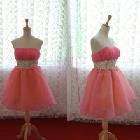 Custom Made Strapless Pink Organza Mini Dress,Party Dress, Prom Dress,Evening Dress With Beads
