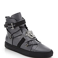 Versace - Palazzo Leather High-Top Sneakers - Saks Fifth Avenue Mobile