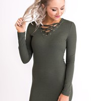Heavy Heart Lace-Up Bodycon (Olive)