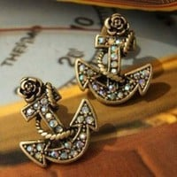 Delicate Diamond Anchor Girls Ear Nail : Wholesaleclothing4u.com