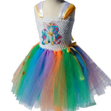 Princess Celestia My Little Pony Tutu Dress, Handmade Celestia Fancy Dress Costume **LINED TOP**