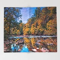 Autumn River Throw Blanket by Scott Hervieux | Society6