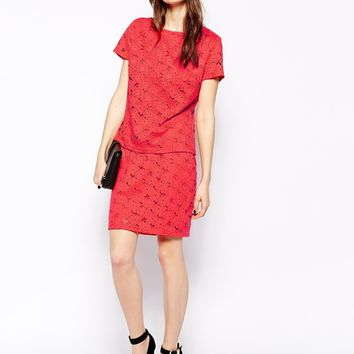 Aryn K Lace Body-Conscious Skirt - Coral