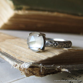 Moonstone Ring Alternative Engagement Ring Gemstone Promise Ring in Sterling Silver