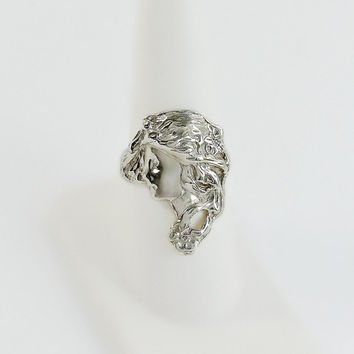 Art Nouveau Cast Sterling Ring - Lady Face Ring - Vintage Victorian Ring Size 7.75 - Victorian Cameo Ring