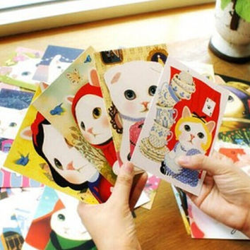 10PCs New Random Jetoy Korea Cute White Cat Kawaii Postcard K1273