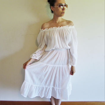 Super Cute Vintage 60s 70s White Off the Shoulder Sheer Gauze Ethnic Peasant Boho Dress