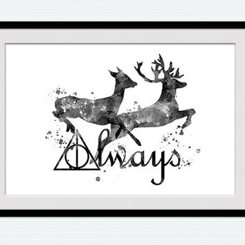 Harry Potter poster Always Harry Potter print Black and white art poster Always together wall decor Home decoration Anniversary gift W116
