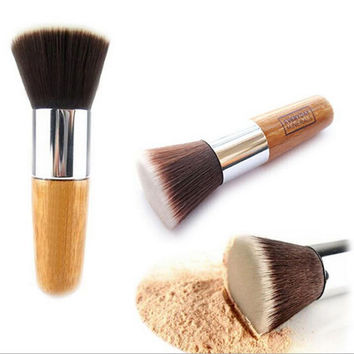 Hot Flat/Round Buffer Foundation Powder Brush Cosmetic Makeup Tool Wooden Handle