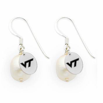 Buy Virginia Tech Hokies Silver and Freshwater Pearl Drop Earrings
