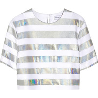 Jonathan Saunders | Jordan holographic striped crepe top | NET-A-PORTER.COM