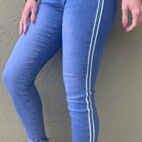 Starlight Striped High Rise Jeans- Light Wash