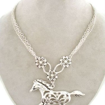 Keep Your Horse Close To Your Heart! (Silver Tone Necklace and Matching Earring Set)