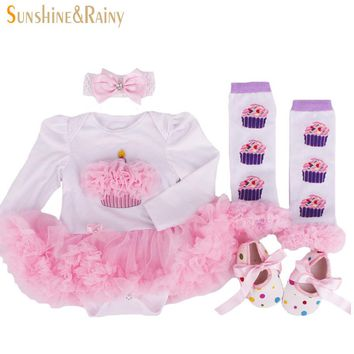 2016 Newborn Clothing Baby Birthday Sets Baby Girl Clothes Romper Princess tutu Dress+Headband+Socks Shoes Christmas Gifts
