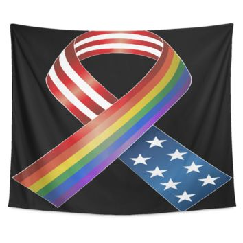 LGBT Gay Pride Tapestry - American Flag HIV AIDS Rainbow Ribbon