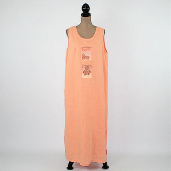 Sleeveless Maxi Dress Long Linen Dress Women XL 2X Plus Size Summer Dress Peach Novelty Dog Applique Vintage Clothing Womens Clothing
