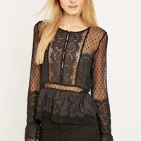 Free People Dot Mesh Peplum Top - Urban Outfitters