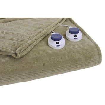 Queen Size Rib Warming Heated Electric Blanket in Sage Green
