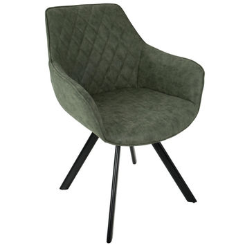 Outlaw Industrial Dining/Accent Chair in Green Faux Leather - Set of 2