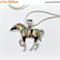 Vintage Southwest Style Horse Pendant Native American Wild Mustang Multi Stone Inlay Fabulous Condition Comes With 18 Inch Chain Polished