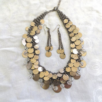 Vintage Bib Necklace Set, Boho Style Reversible Chain Necklace, Discs and Lucite Beads, Drop Pierced Earrings